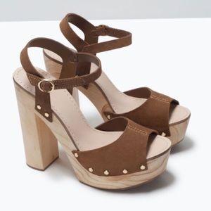 ZARA Suede Leather Block Heel Platform Heel Sandal